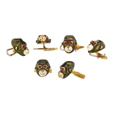 David Webb DAVID WEBB 18K YELLOW GOLD GORILLIA MONKEYS 4 STUDS CUFF LINKS