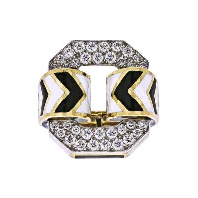 David Webb DAVID WEBB 18K YELLOW GOLD LARGE CHEVRON WHITE AND BLACK ENAMEL RING