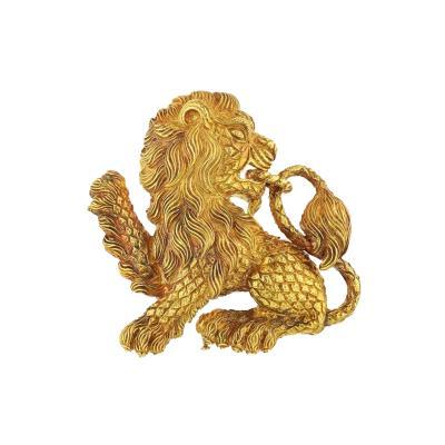 David Webb DAVID WEBB 18K YELLOW GOLD LION BROOCH