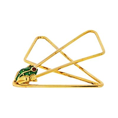 David Webb DAVID WEBB 18K YELLOW GOLD MONEY CLIP WITH A LITTLE FROG JEWELRY