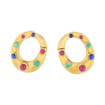 David Webb DAVID WEBB 18K YELLOW GOLD OVAL SHAPED SAPPHIRES EMERALDS AND RUBIES EARRINGS