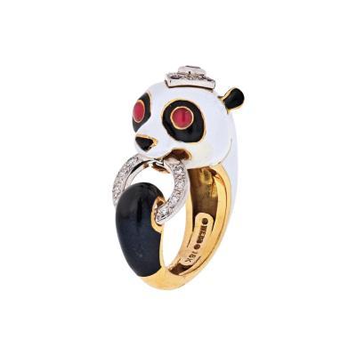 David Webb DAVID WEBB 18K YELLOW GOLD PANDA WHITE BLACK ENAMEL RUBY DIAMOND RING