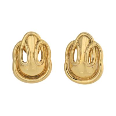 David Webb DAVID WEBB 18K YELLOW GOLD SIMPLE CLIP ON EARRINGS