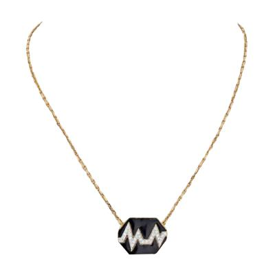 David Webb DAVID WEBB 18K YELLOW GOLD SKIP BLACK ENAMEL DIAMOND PENDANT