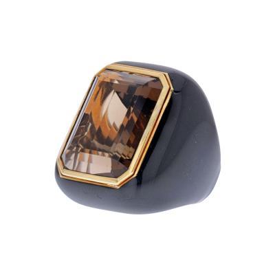 David Webb DAVID WEBB 18K YELLOW GOLD SMOKY QUARTZ AND BLACK ENAMEL RING