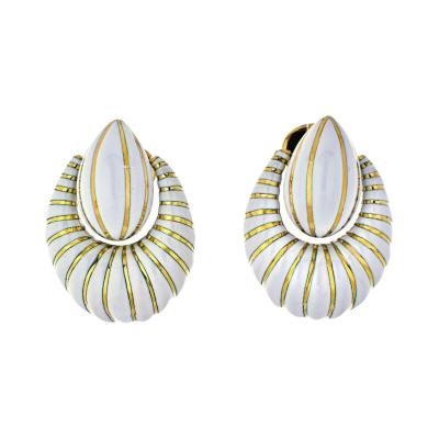 David Webb DAVID WEBB 18K YELLOW GOLD WHITE ENAMEL DOOR KNOCKERS EARRINGS