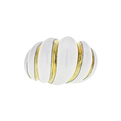 David Webb DAVID WEBB 18K YELLOW GOLD WHITE ENAMEL SMOOTH BOMBE RING