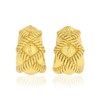 David Webb DAVID WEBB 18K YELLOW GOLD X MOTIF HAMMERED CLIP ON EARRINGS