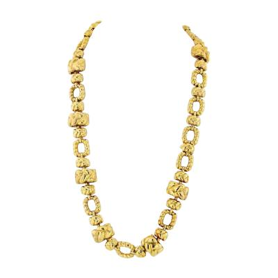 David Webb DAVID WEBB 1970S 18K YELLOW GOLD 28 INCHES ARTICULATED LINK NECKLACE
