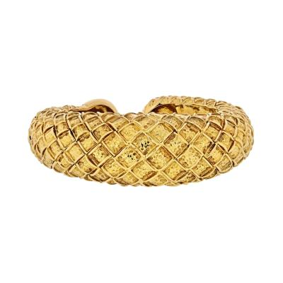 David Webb DAVID WEBB 1970S 18K YELLOW GOLD CHECKERBOARD TAPERED CUFF BRACELET