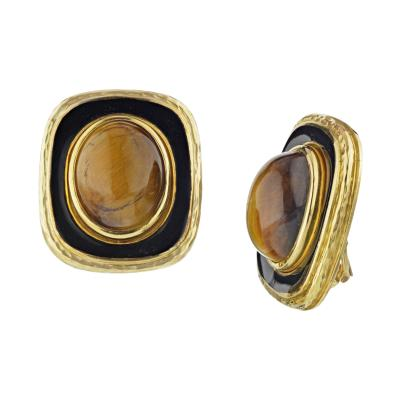 David Webb DAVID WEBB 1970S PLATINUM 18K YELLOW GOLD GOLD BLACK ENAMEL EARRINGS
