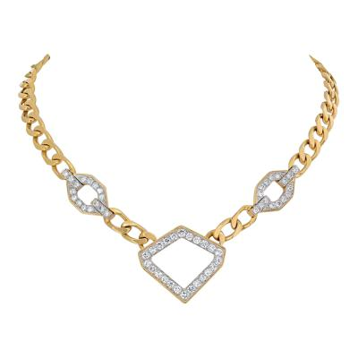David Webb DAVID WEBB 4 CARAT DIAMOND STATIONS LINK GOLD NECKLACE