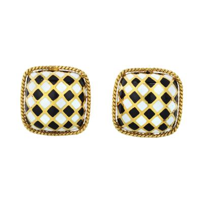 David Webb DAVID WEBB ENAMEL 18K YELLOW GOLD BLACK WHITE CUFF LINKS