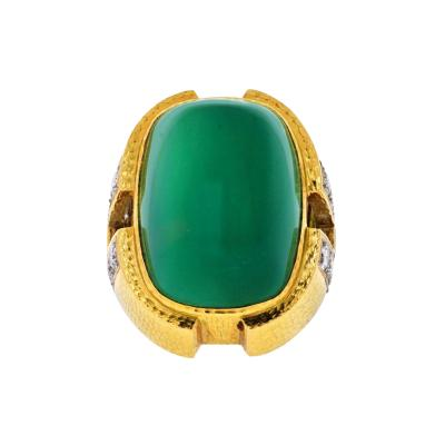 David Webb DAVID WEBB GREEN CABOCHON ONYX DIAMOND RING
