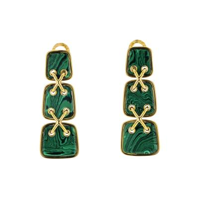 David Webb DAVID WEBB GREEN MALACHITE CROSS STITCH DROP EARRINGS