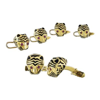 David Webb DAVID WEBB KINGDOM 18K YELLOW GOLD CHEETAH 4 STUD BUTTON CUFF LINKS
