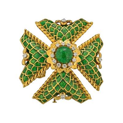 David Webb DAVID WEBB MALTESE CROSS 18K YELLOW GOLD LARGE DIAMOND AND GREEN ENAMEL PENDANT