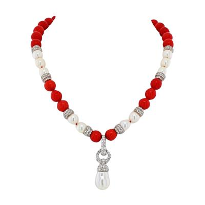 David Webb DAVID WEBB PLATINUM 18K WHITE GOLD CORAL DIAMOND AND PEARL BEAD NECKLACE