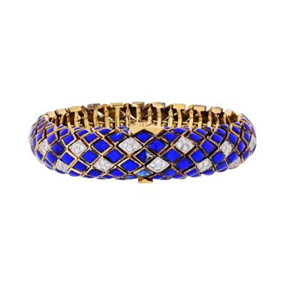 David Webb DAVID WEBB PLATINUM 18K YELLOW GOLD BLUE ENAMEL AND DIAMOND BRACELET