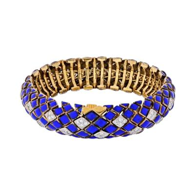 David Webb DAVID WEBB PLATINUM 18K YELLOW GOLD BLUE ENAMEL AND DIAMOND BRACELET