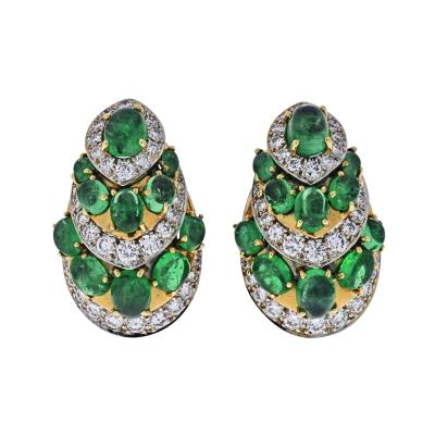 David Webb DAVID WEBB PLATINUM 18K YELLOW GOLD DIAMOND AND GREEN EMERALD EARRINGS