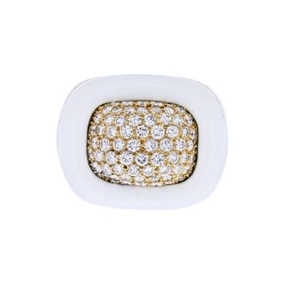 David Webb DAVID WEBB PLATINUM 18K YELLOW GOLD DIAMOND WHITE ENAMEL RING