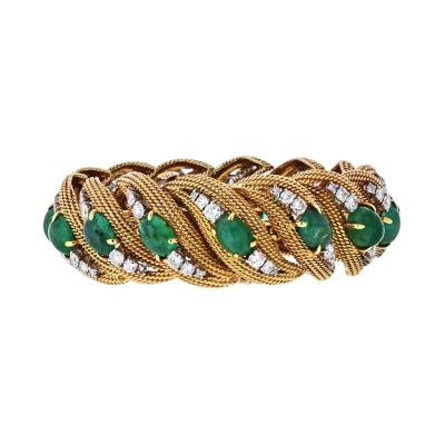David Webb DAVID WEBB PLATINUM 18K YELLOW GOLD DIAMONDS CABOCHON EMERALDS BRACELET