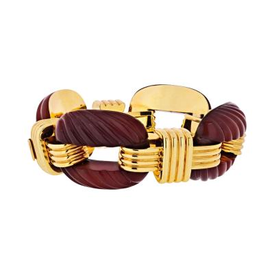 David Webb DAVID WEBB PLATINUM 18K YELLOW GOLD FLUTED CARNELIAN LINK BRACELET