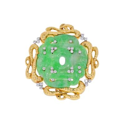 David Webb DAVID WEBB PLATINUM 18K YELLOW GOLD FRENCH JADE BROOCH PENDANT