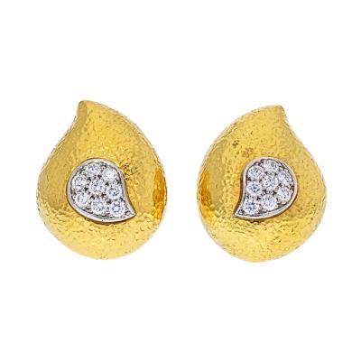 David Webb DAVID WEBB PLATINUM 18K YELLOW GOLD HAMMERED TEARDROP DIAMOND EARRINGS