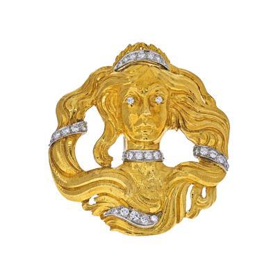 David Webb DAVID WEBB PLATINUM 18K YELLOW GOLD MEDUSA DIAMOND PENDANT BROOCH