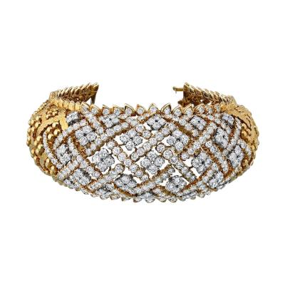 David Webb DAVID WEBB PLATINUM 18K YELLOW GOLD OPENWORK 22 00 CARATS DIAMOND BRACELET