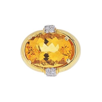 David Webb DAVID WEBB PLATINUM 18K YELLOW GOLD OVAL CITRINE AND DIAMOND RING