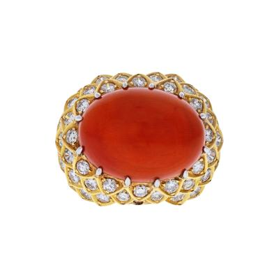 David Webb DAVID WEBB PLATINUM 18K YELLOW GOLD OVAL CORAL AND DIAMOND 1970S RING