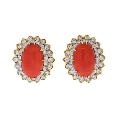 David Webb DAVID WEBB PLATINUM 18K YELLOW GOLD OVAL CORAL AND ROUND CUT DIAMOND EARRINGS
