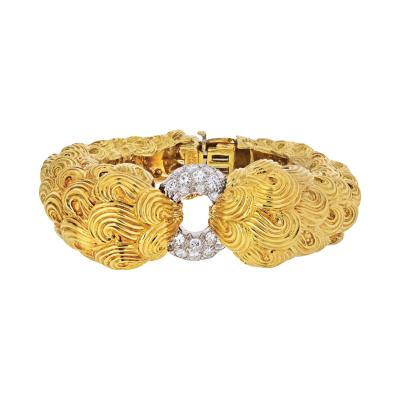 David Webb DAVID WEBB PLATINUM 18K YELLOW GOLD TEXTURED SCROLLS AND DIAMOND BRACELET