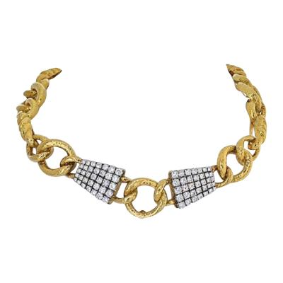 David Webb DAVID WEBB PLATINUM 18K YELLOW GOLD TWISTED ROPE LINK DIAMOND COLLAR NECKLACE