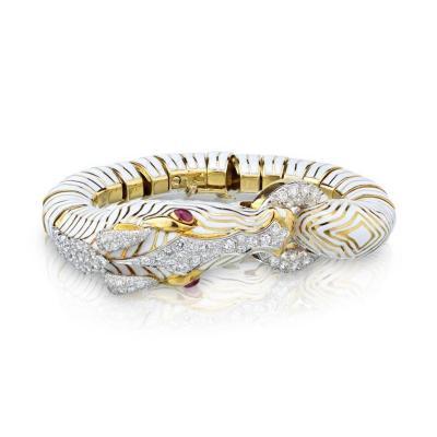 David Webb DAVID WEBB PLATINUM 18K YELLOW GOLD ZEBRA ENAMEL DIAMOND BRACELET