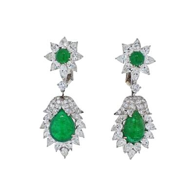 David Webb DAVID WEBB PLATINUM 1970S GREEN EMERALD AND DIAMOND HANGING EARRINGS