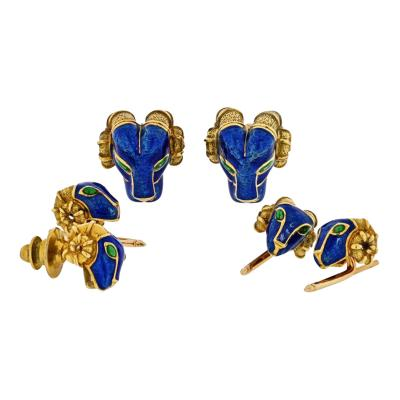 David Webb DAVID WEBB RAM HEAD BLUE ENAMEL GREEN EMERALDS CUFF LINKS AND STUD DRESS SET