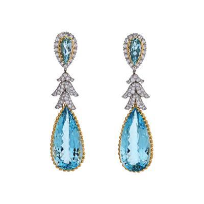 David Webb DAVID WEBB TEARDROP BLUE AQUAMARINE AND DIAMOND DANGLING EARRINGS