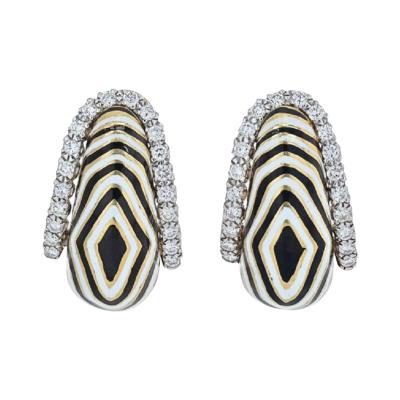 David Webb DAVID WEBB VREELAND DIAMOND ZEBRA BLACK WHITE ENAMEL EARRINGS