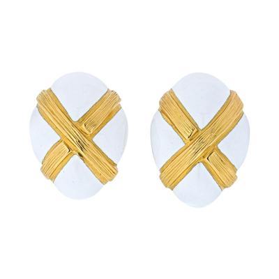 David Webb DAVID WEBB WHITE ENAMEL TEXTURED X CLIP EARRINGS