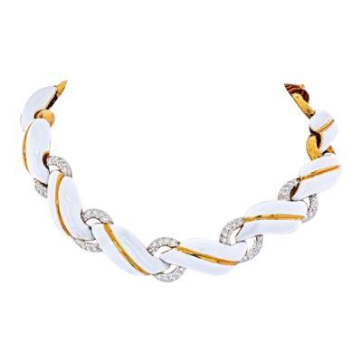 David Webb DAVID WEBB YELLOW GOLD WHITE ENAMEL AND DIAMOND COLLAR NECKLACE