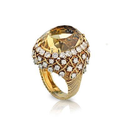 David Webb David Webb 18K Gold Diamond Citrine Ring
