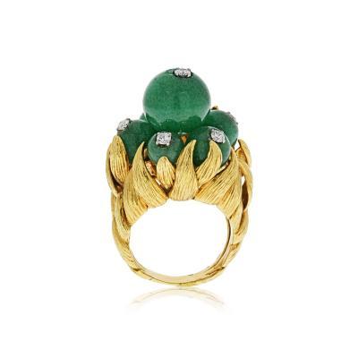 David Webb David Webb 18K Gold Green Chrysoprase and Diamond Ring