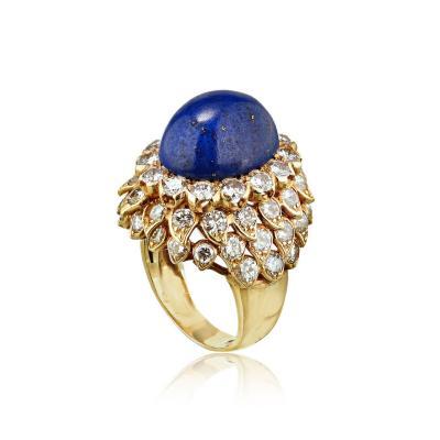 David Webb David Webb 18K Gold Large Blue Lapis with Diamonds Ring