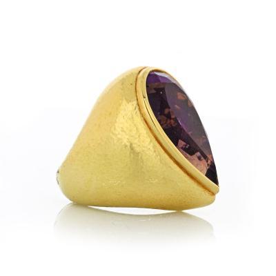 David Webb David Webb 18K Gold Large Scale Pear Shaped Amethyst Ring