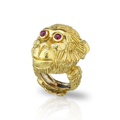 David Webb David Webb 18K Gold Monkey Ring