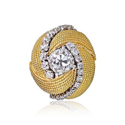 David Webb David Webb 18K Gold Turban Motif Old Cut Diamond Ring
